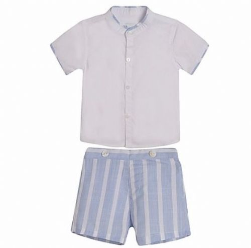 Pale Blue Stripe Shorts & Shirt